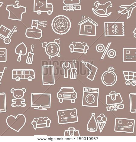 Categories of goods, Internet-shop, seamless pattern, brown. Vector white outline icons of industrial goods on a brown background. Plain, flat background.