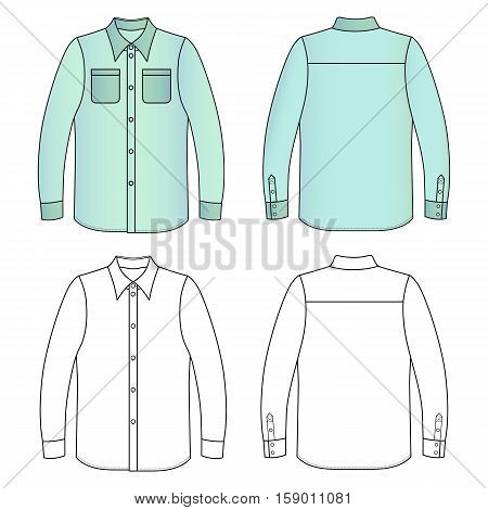 Long sleeve man's buttoned shirt outlined template (front & back view) vector illustration isolated on white background