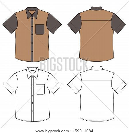 Short sleeve man's buttoned shirt outlined template (front & back view) vector illustration isolated on white background