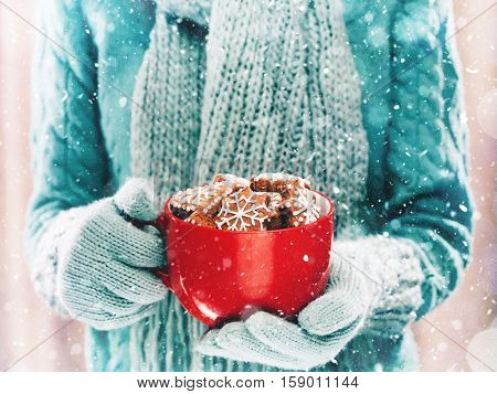 Woman holding red cup with gingerbread Christmas cookies on light background with snowfall. Hands in woollen gloves holding a cozy mug with delicious cookies. Winter and Christmas time concept.