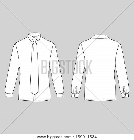 Long sleeve man's shirt & tie outlined template (front & back view) vector illustration isolated on grey background