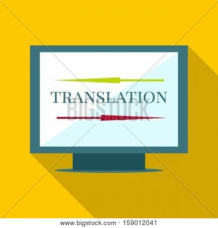 Computer translation icon. Flat illustration of computer translation vector icon for web