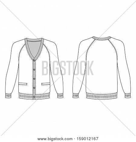 Blank long sleeve raglan cardigan outlined template (front & back view) vector illustration isolated on white background