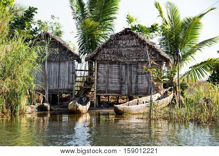 Madagascar Traditional Rural Landscape With Hut