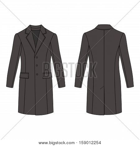 Man's coat outlined template (front & back view) vector illustration isolated on white background