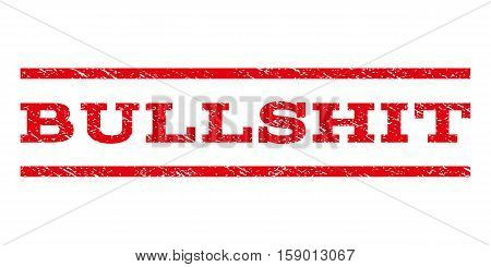 Bullshit watermark stamp. Text tag between horizontal parallel lines with grunge design style. Rubber seal stamp with dust texture. Vector red color ink imprint on a white background.
