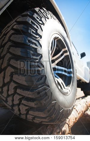 Close up of rims car alloy wheel outdoor on a sunny day