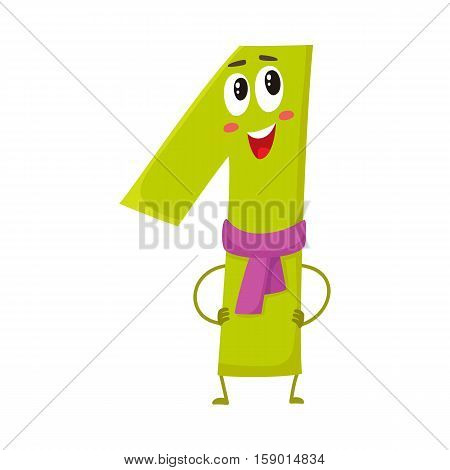 Cute and funny colorful 1 number characters, cartoon vector illustration isolated on white background. One smiling characters, birthday greetings, anniversary