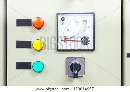 electric board with switches and measurement and indicators