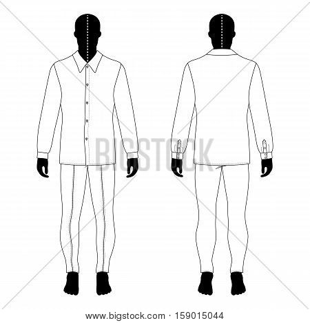 Full length man's black silhouette figure in in a long sleeve buttoned shirt and skinny jeans template (front & back view) vector illustration isolated on white background