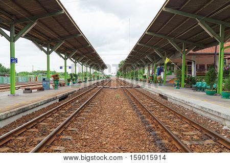 BANGKOK - July 10 2016 Thailand: Railway station Huatakhe at Lat Krabang.