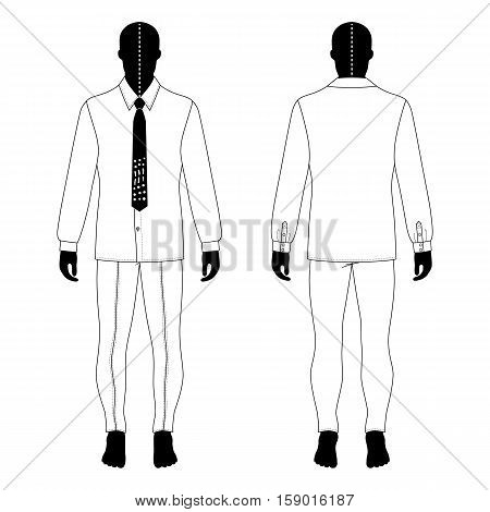 Full length man's black silhouette figure in in a long sleeve buttoned shirt & tie and skinny jeans template (front & back view) vector illustration isolated on white background