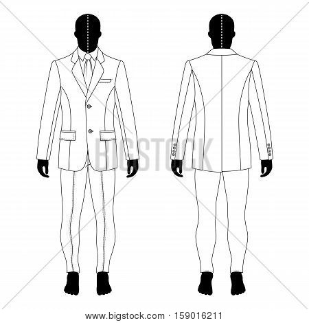 Full length man's black silhouette figure in a single breasted suit (jacket & shirt & tie & skinny jeans) template (front & back view) vector illustration isolated on white background