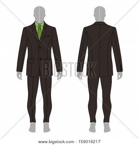 Full length man's grey silhouette figure in a single breasted suit (jacket & shirt & tie & skinny jeans) template (front & back view) vector illustration isolated on white background