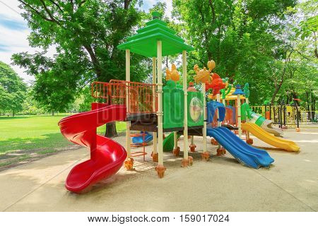 Children playground in the park. wachirabenchatat park in Bangkok.