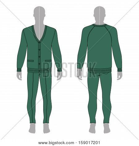 Full length man's grey silhouette figure in a green cardigan & skinny jeans template (front & back view) vector illustration isolated on white background