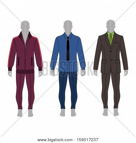 Full length man's gray silhouette figure in a suit shirt and skinny jeans template set (front & back view) vector illustration isolated on white background