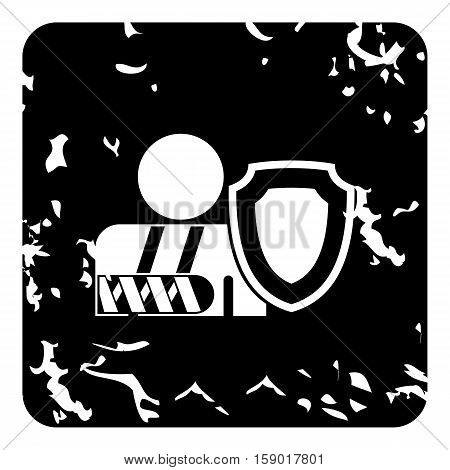 Broken hand and safety shield icon. Grunge illustration of broken hand and safety shield vector icon for web
