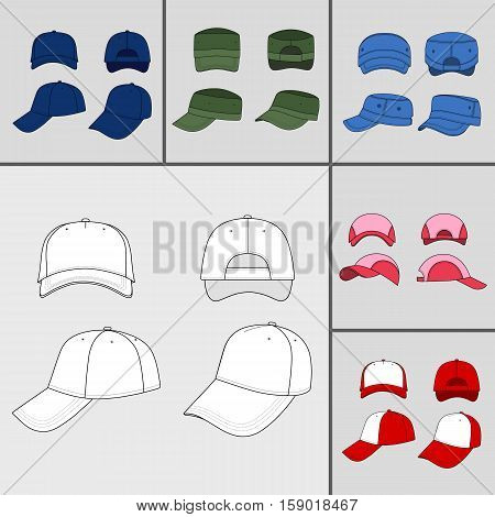 Baseball tennis cap colored vector illustration featured front back side top bottom isolated on grey You can change the color or you can add your logo easily