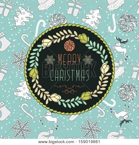 Abstract Cute Holiday Christmas Background With Pattern