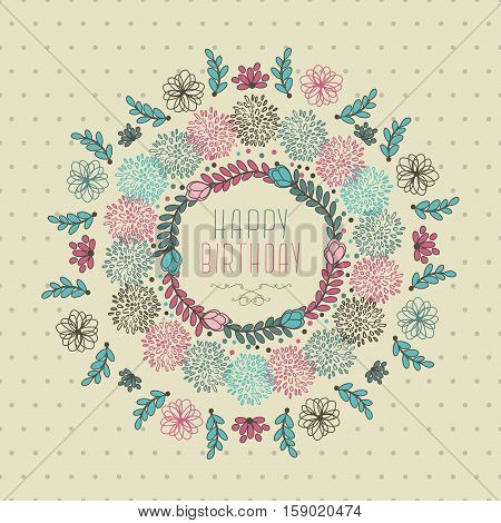 Abstract Cute Happy Birthday Floral Design With Flowers And Leaves