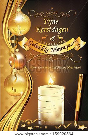 Merry Christmas and Happy New Year (Fijne Kerstdagen en Gelukkig Nieuwjaar!) - dutch elegant greeting card for winter season. Print colors used. Size of a custom printable card
