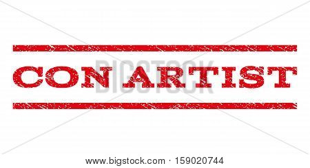 Con Artist watermark stamp. Text caption between horizontal parallel lines with grunge design style. Rubber seal stamp with unclean texture. Vector red color ink imprint on a white background.
