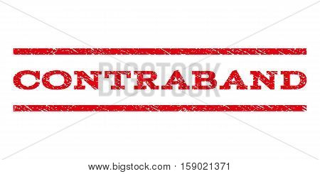 Contraband watermark stamp. Text tag between horizontal parallel lines with grunge design style. Rubber seal stamp with dust texture. Vector red color ink imprint on a white background.