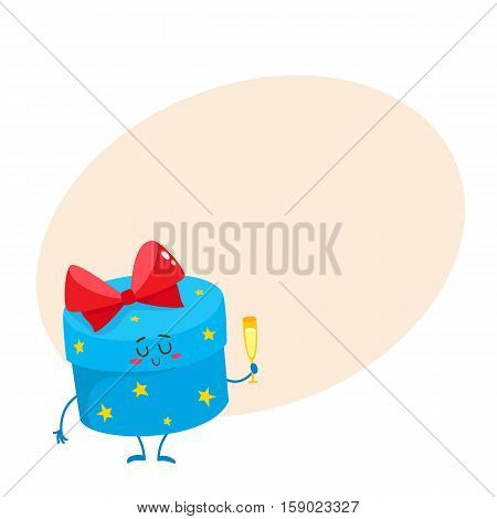 Colorful gift box with red bow character holding champagne glass, cartoon vector illustration on background with place for text. Xmas, birthday, present, gift, surprise smiling character with smiling