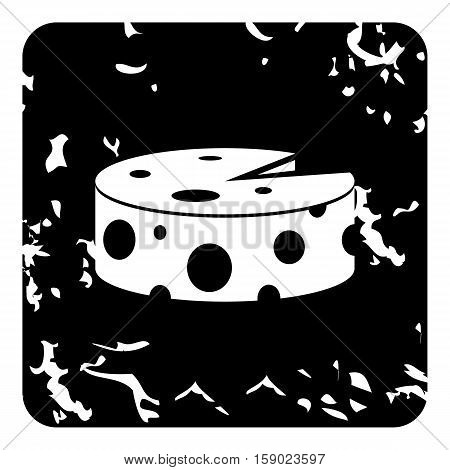 Wheel of cheese icon. Grunge illustration of wheel of cheese vector icon for web