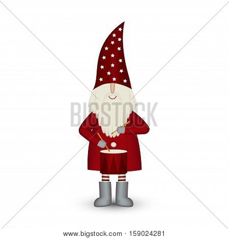 Nisse Santa Claus scandinavian folk style, nordic Christmas motive in red coat, musician with drum isolated on white background, vector illustration