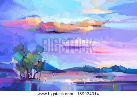 Abstract oil painting landscape background. Colorful yellow and purple sky. Oil painting outdoor landscape on canvas. Semi- abstract tree, hill and field meadow. Sunset landscape nature background