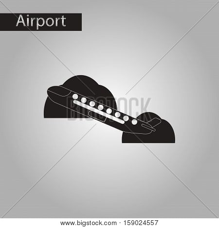 black and white style icon of airplane takeoff