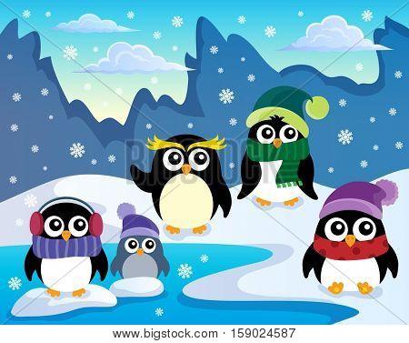 Stylized winter penguins theme 1 - eps10 vector illustration.