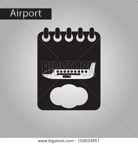 black and white style icon of airplane timetable