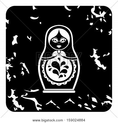 Russian nesting doll icon. Grunge illustration of russian nesting doll vector icon for web