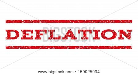 Deflation watermark stamp. Text caption between horizontal parallel lines with grunge design style. Rubber seal stamp with dirty texture. Vector red color ink imprint on a white background.