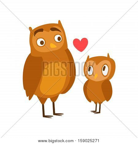 Owl Dad Animal Parent And Its Baby Calf Parenthood Themed Colorful Illustration With Cartoon Fauna Characters. Smiling Zoo Wildlife Loving Family Members United With Heart Symbol Vector Drawing