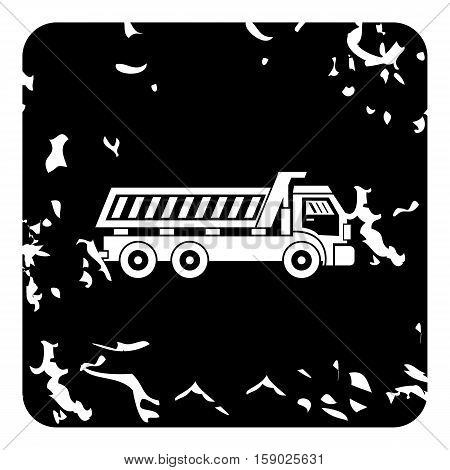 Dump truck icon. Grunge illustration of dump truck vector icon for web
