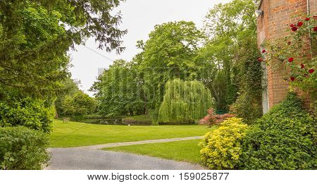 Beautiful English country garden in Essex in summer