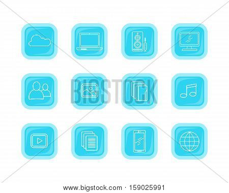 Set icons of modern computer web buttons. Cloud storage laptop speaker desktop computer user pic picture gallery music play data mobile phone globe. Internet science. Set of thin line icons. Vector