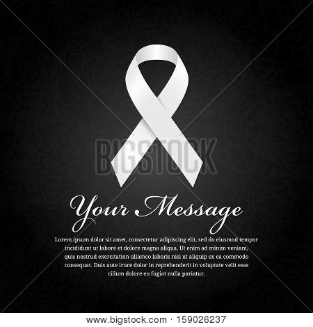 funeral card - White ribbon and place for text on soft flower abstract black background
