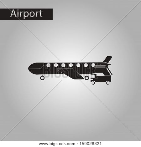 black and white style icon of airplane gangway