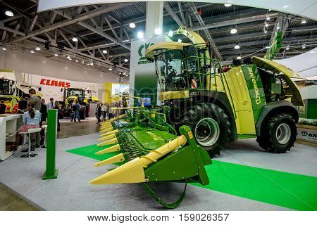 MOSCOW- OCTOBER 05, 2016: Forage harvester Krone Big serie of the American company Krone at the International Trade Fair AGROSALON, Crocus Expo