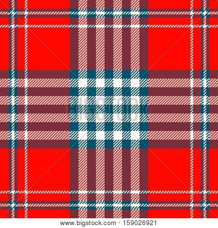 Seamless tartan plaid pattern. Checkered fabric texture background in Christmas palette of teal greenish blue, red & white.