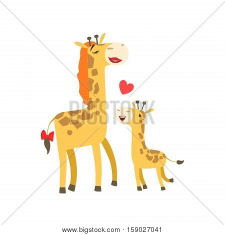 Giraffe Mom With Lipstick Animal Parent And Its Baby Calf Parenthood Themed Colorful Illustration With Cartoon Fauna Characters. Smiling Zoo Wildlife Loving Family Members United With Heart Symbol Vector Drawing