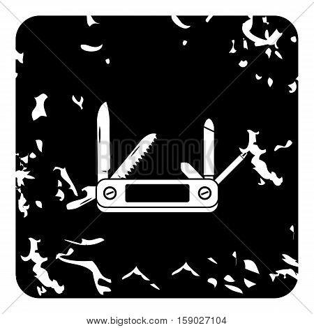 Pocket knife icon. Grunge illustration of pocket knife vector icon for web