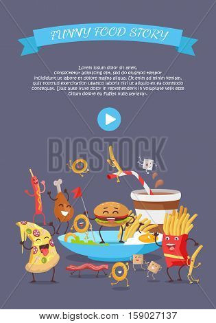 Funny fast food web banner. Smiling and dancing hamburger, french fries, pizza, sausage, chicken, onion rings. Flat illustration with cartoon characters for restaurant landing page. Order food online