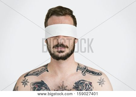 Man Eye Covered Blind Forbidden Lost Concept