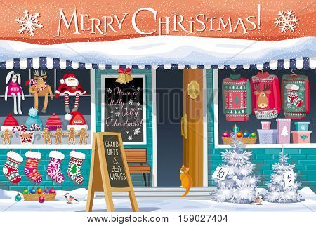 Showcase Gift Shop with Christmas symbols - greeting card banner or poster for sales and other Christmas and New Year events.